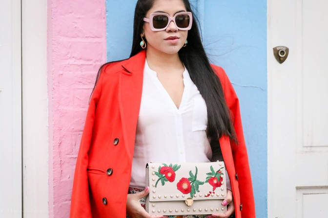 Spring Vibes: Orange Coat & Floral Prints
